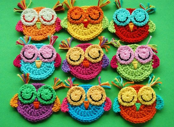 Crochet Owl Appliques Pink Lime owl decoration door AnnieDesign