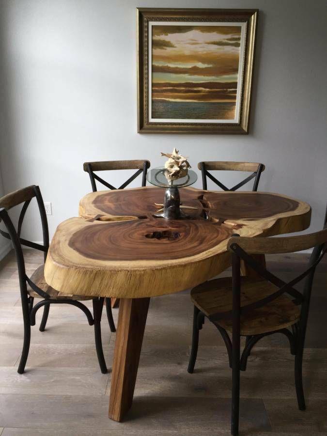 Round Wood Slab Dining Table Wood Tables Pinterest Wood slab