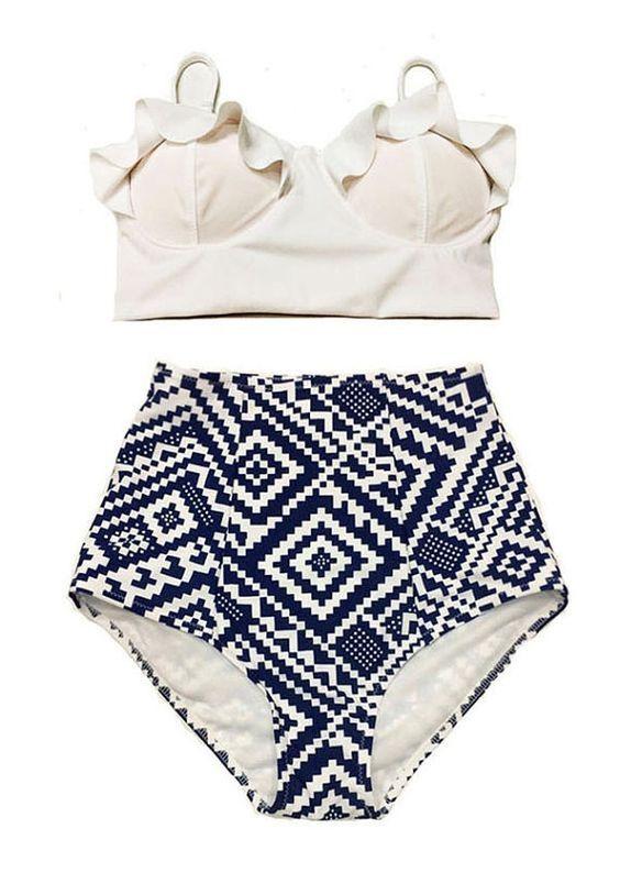83f42f81474 High Waist Swimsuit New Bikinis Women Push Up Bikini Set Plus Size Swimwear  Vintage Retro Floral Bathing Suit Beach Wear XL
