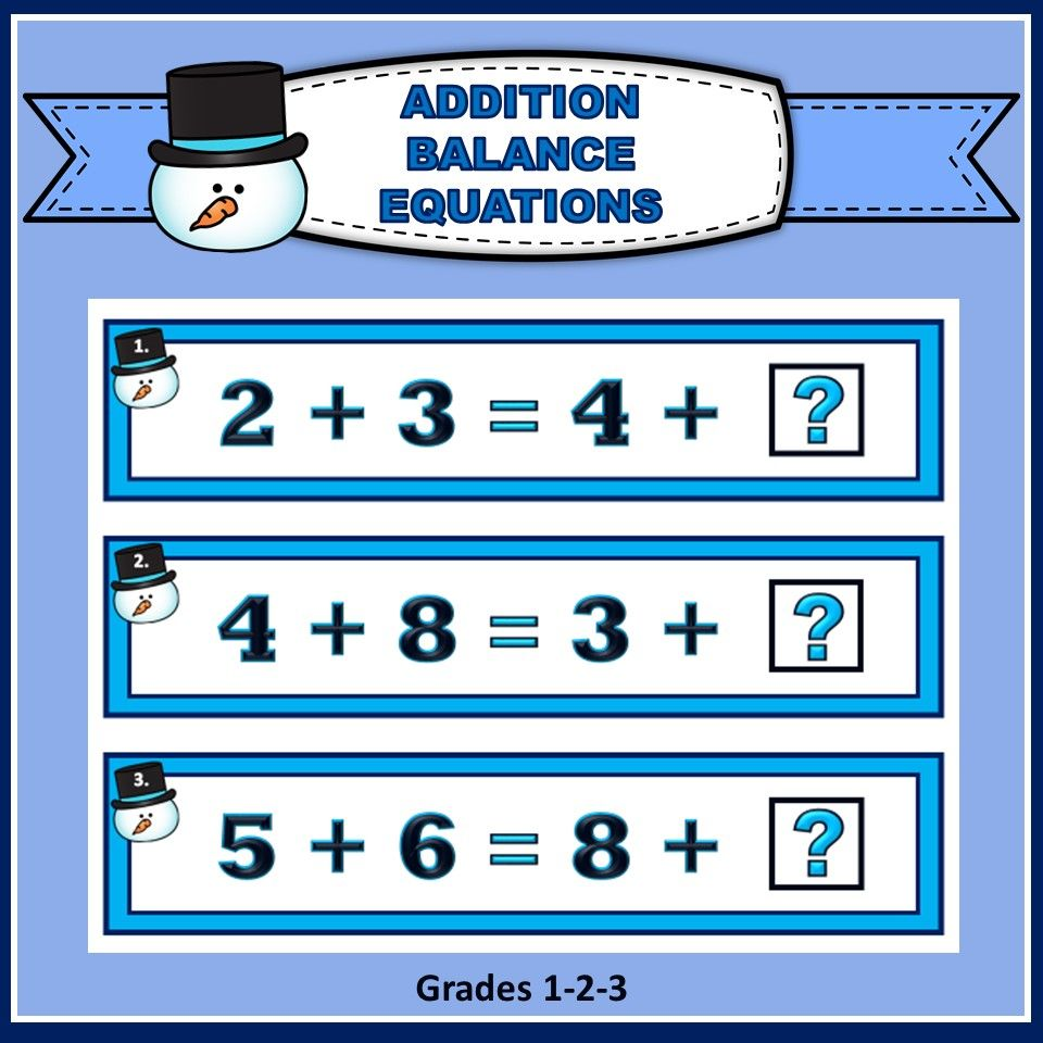 Balance Equations - Addition | Equation, Math and Elementary math