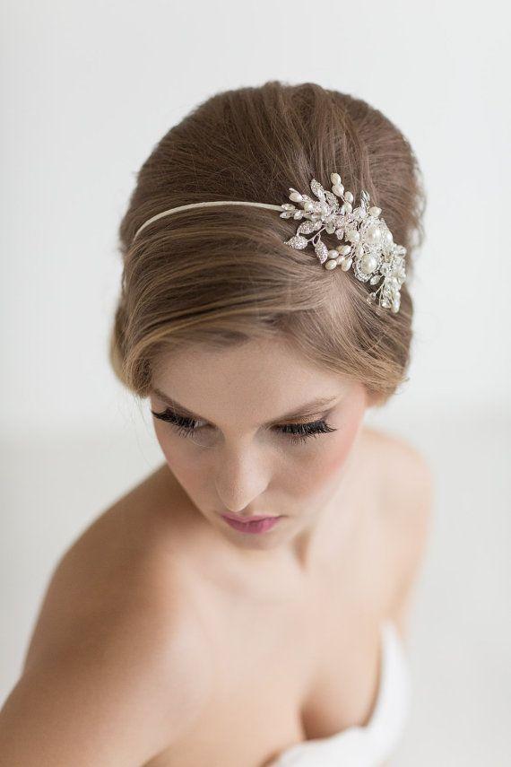 Bridal Hairpiece, Crystal Pearl Headband, Wedding ...