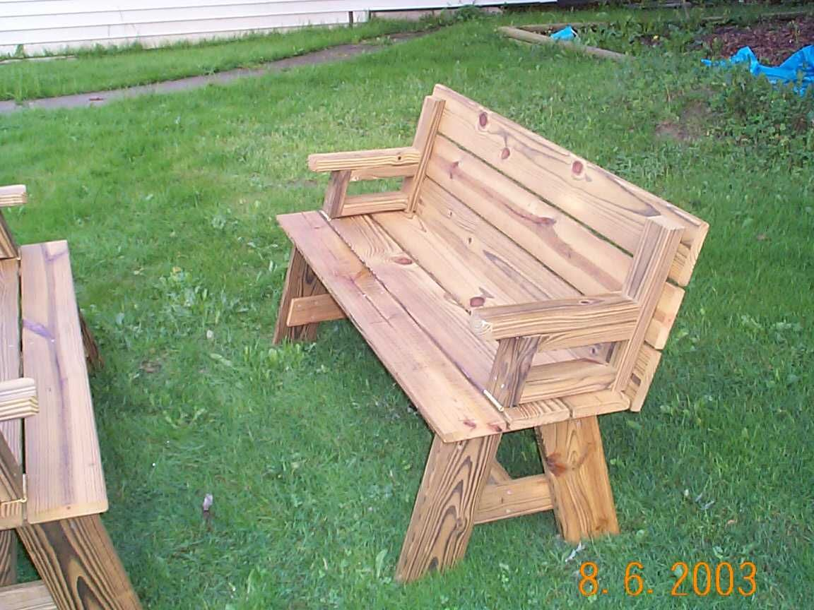 Picnic Table / Bench Combo Plan | Bancos, Muebles madera y Asas