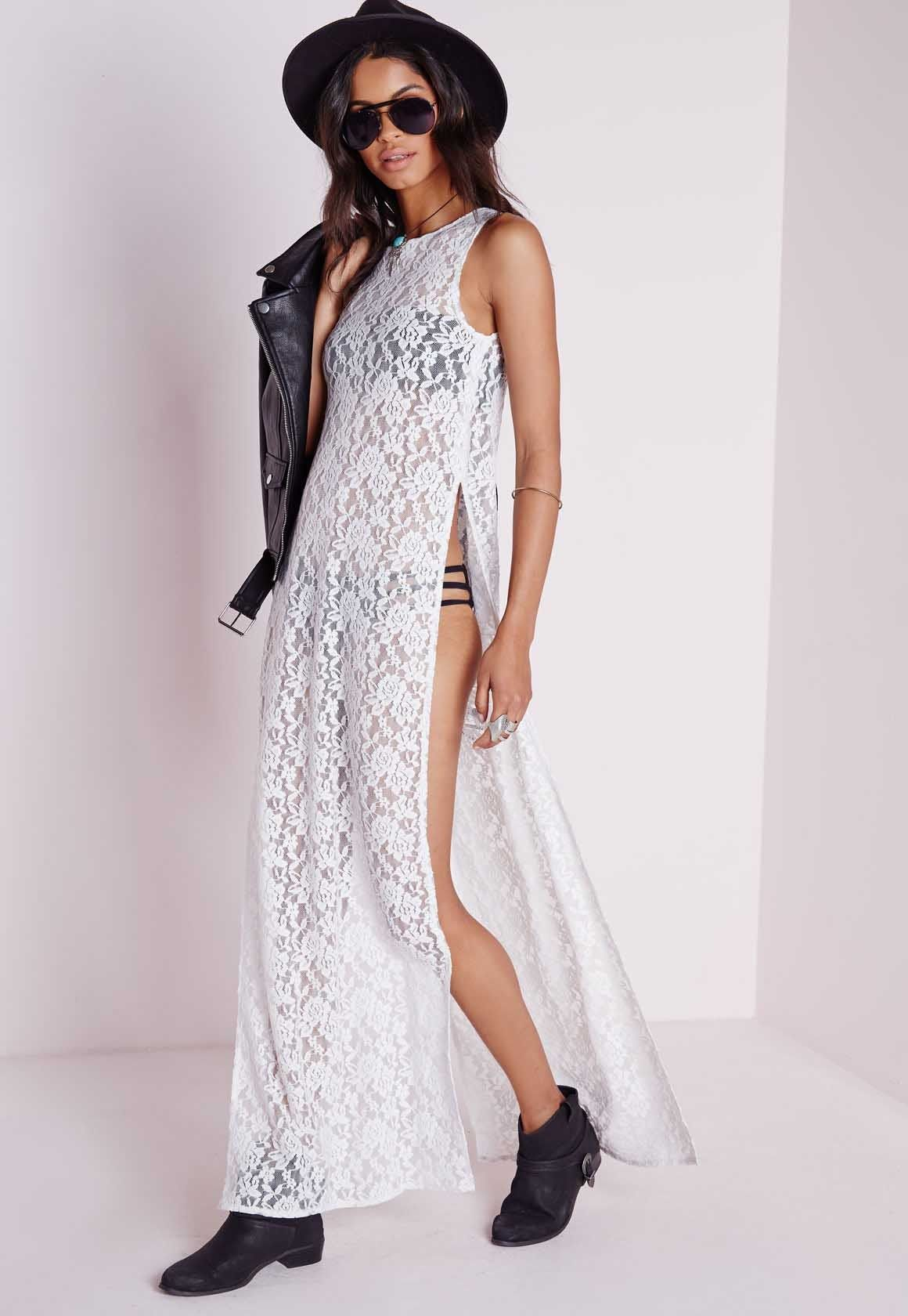 Missguided sheer lace side split maxi dress white side