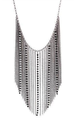 Statement Necklace with Chain Fringe and Stones