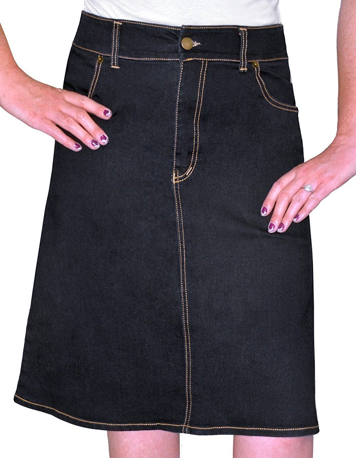e773978c747 Kosher Casual Women s A-Line Knee Length Denim Skirt New Cut and Fabric      This is an Amazon Affiliate link. More info could be found at the image url.