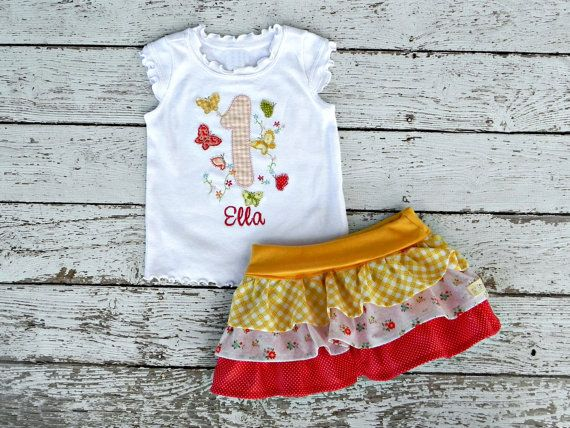 Butterfly Garden Party First Birthday Personalized Boutique Shirt or Baby Onesie with Matching Ruffle Skirt ... Custom Colors