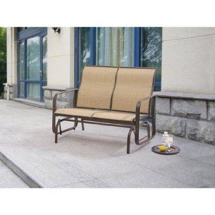 Generic Mainstays Wesley Creek Outdoor Patio Furniture 2-seat Sling Glider Powder-coated Steel Frame Waterproof, Breathable All-weather Sling Fabric, Tan