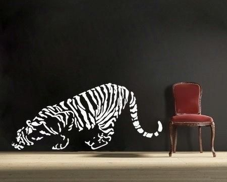Crouching Tiger Vinyl Wall DECAL  Nature, Interior Design, Sticker Art,  Room,