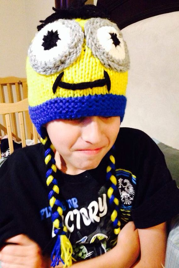 Minion inspired hat ear flaps braided sides on Etsy, $24.95