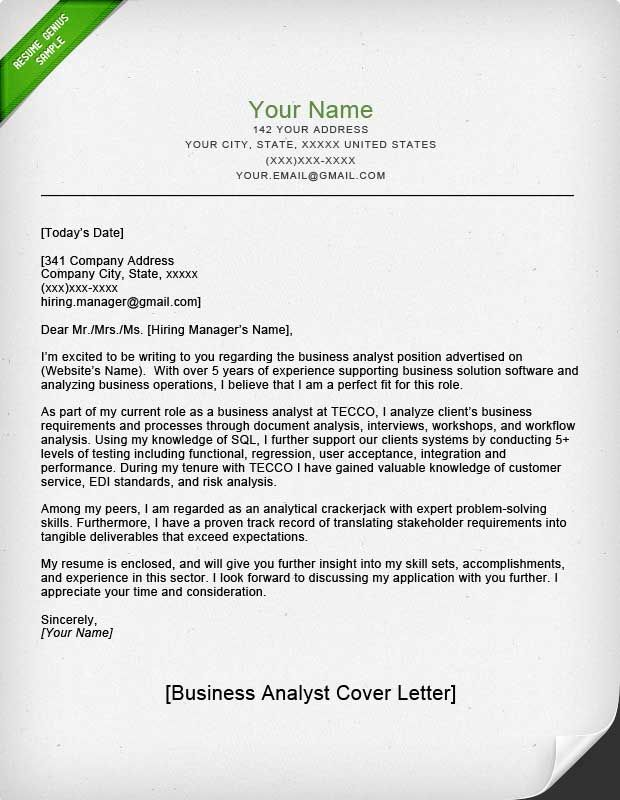 accounting amp finance cover letter samples resume genius - cover letter for business analyst