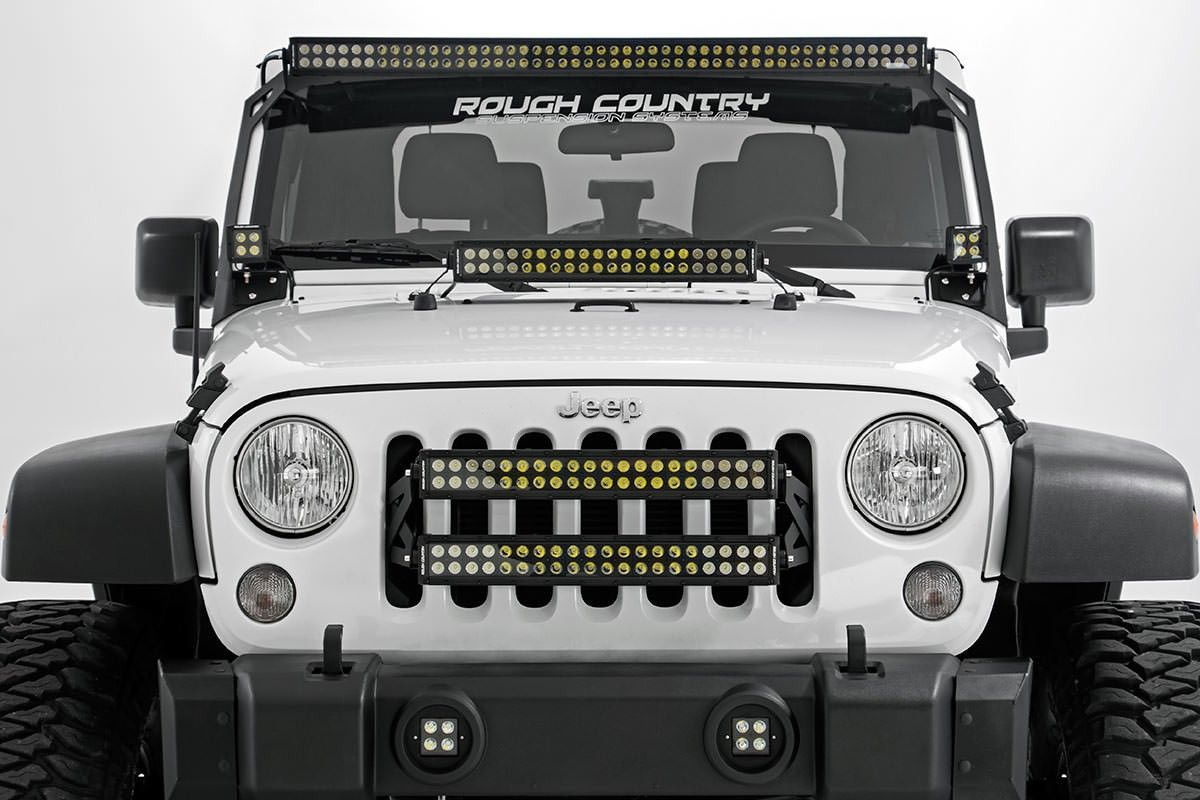 Jeep 20 inch led grille mounts wtwo dual row light bars light jeep 20 inch led grille mounts wtwo dual row light bars aloadofball Images