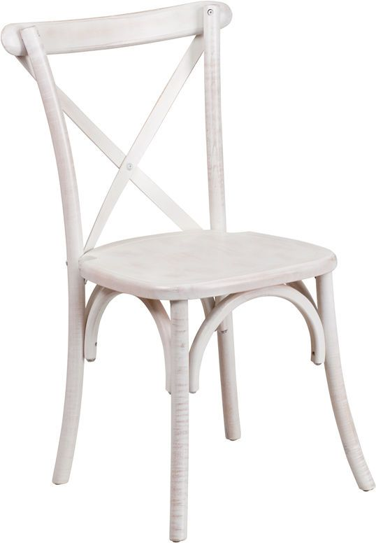 Coastal Cross Back Dining Chair Distressed White Wood Limewash X