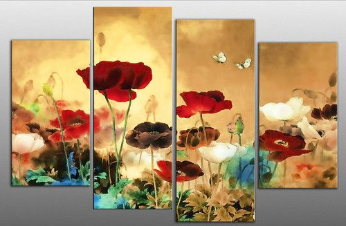 multi canvas paintings | ... Multi, Red, Blue, Cream and Brown 4 ...