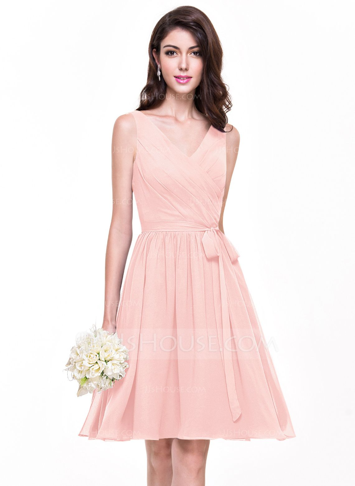 A-Line/Princess V-neck Knee-Length Chiffon Bridesmaid Dress With Ruffle Bow(s) (007068152) - JJsHouse