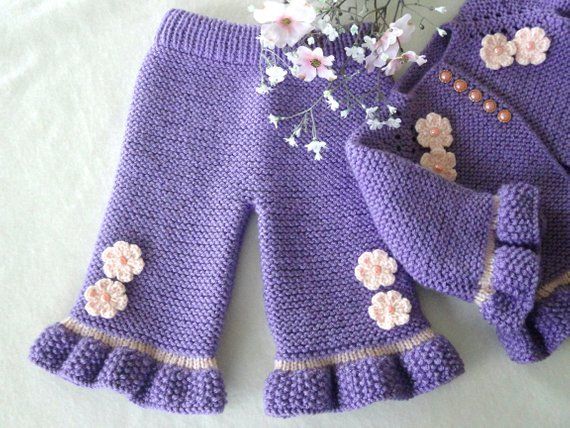 Photo of Baby Girl Cardigan Knitted Baby Jacket Knitted Baby Pants Crochet Baby Outfit Baby Girl Sweater Baby Girl Pants Baby Girl Clothes Baby Gift