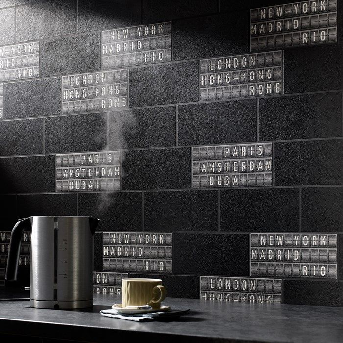 Airport Tile Black White Wallpaper By Graham And Brown Black And White Wallpaper White Wallpaper Black And White Coffee