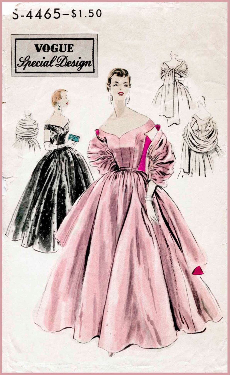 1950s 50s cocktail dress ball gown evening Vintage Sewing Pattern ...