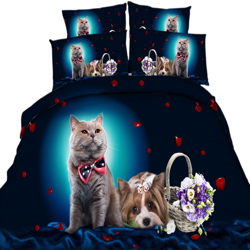 yeekin 3d bedding sets cat cute bed set flower bed clothes cotton fashion bed cover