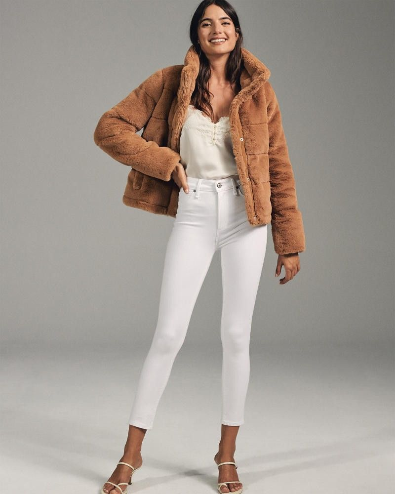 Mini Faux Fur Puffer Jacket Coats For Women Abercrombie And Fitch Outfit Faux Fur Puffer Jacket