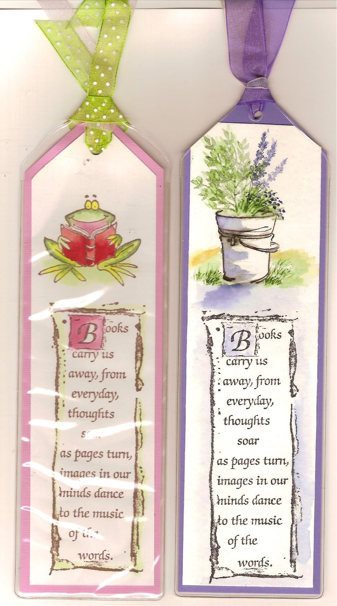 Book Markers Cont Bucket Of Flowers Is A Water Color Frog Was