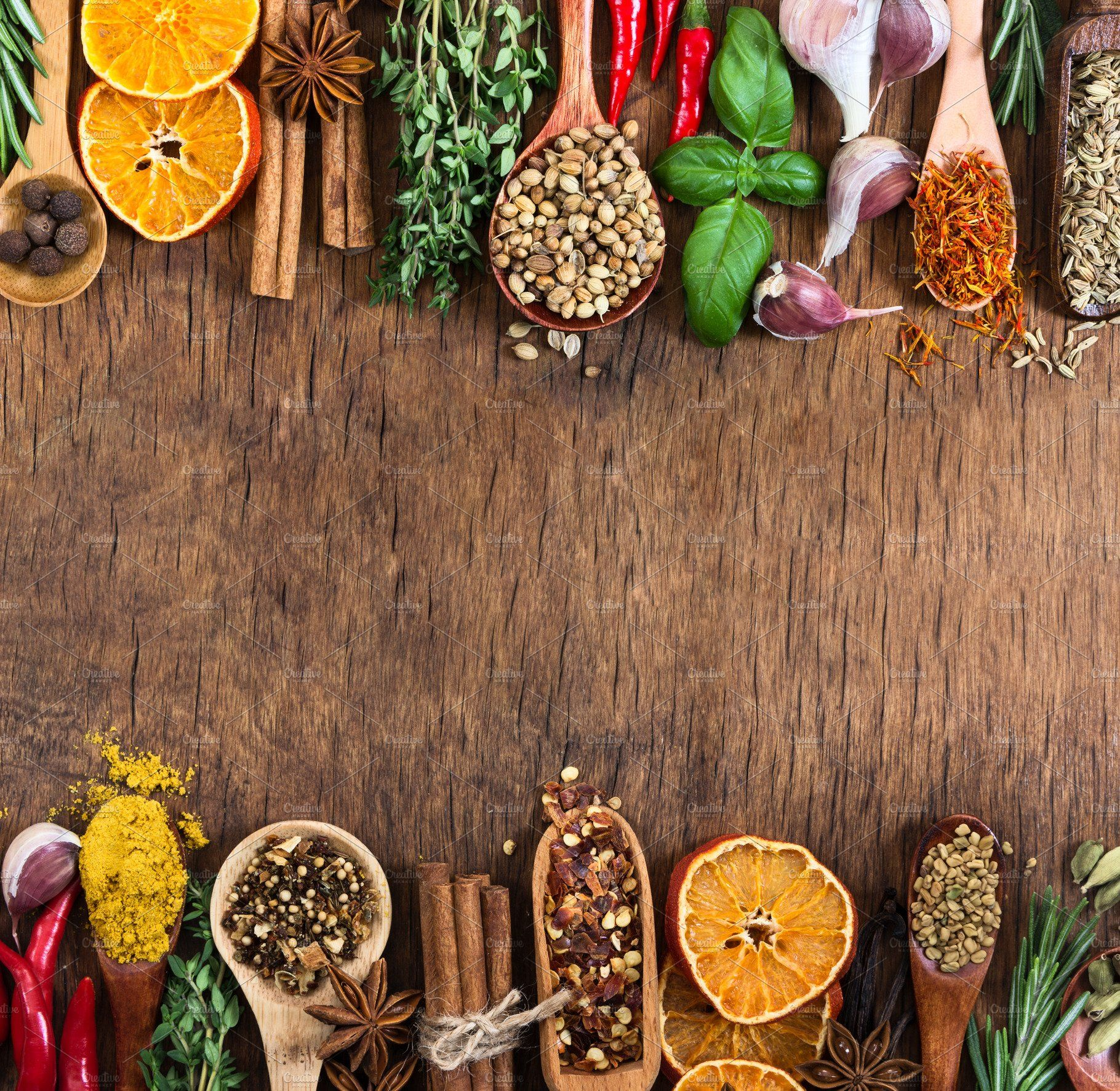 Various Spices On Wooden Background In 2020 Food Background Wallpapers Wooden Background Food Wallpaper