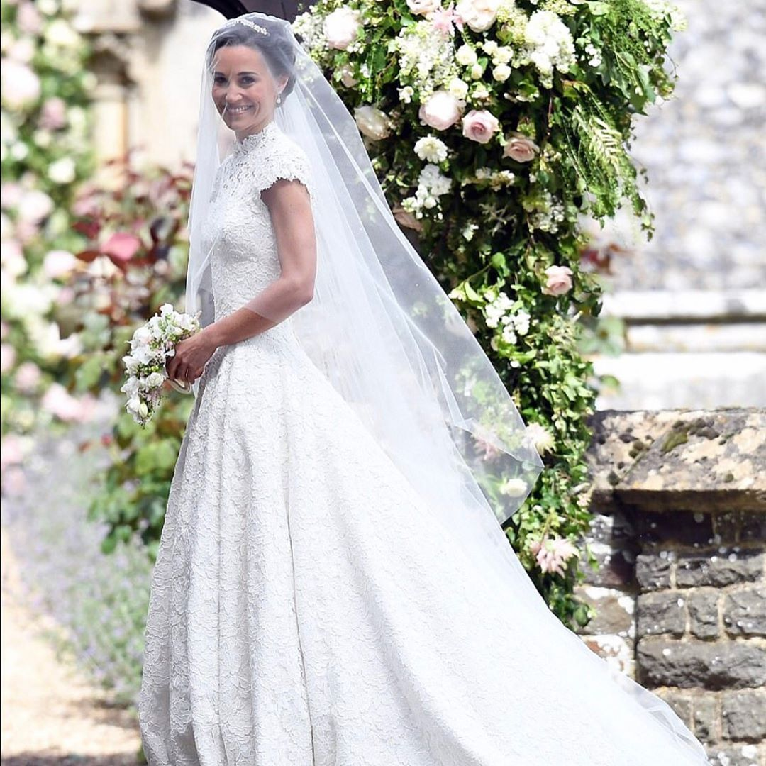 Here comes the bride pippamidleton in a beautiful lace giles
