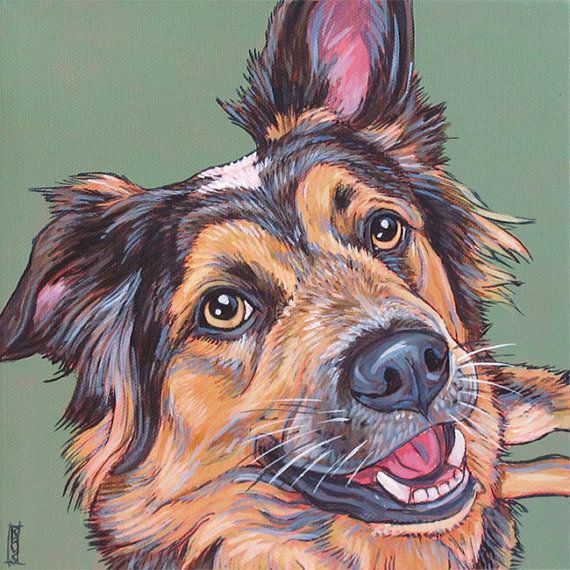 "Custom Pet Portrait Painting in Acrylics on Ready to Hang Stretched 8"" x 8"" Canvas of One Dog, Cat, Other Animal. Australian Shepherd Cattle Dog Mix Sample from Pet Portraits by Bethany."