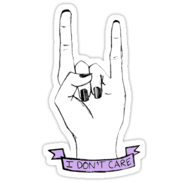 37848e370 tumblr stickers   Dont Care' Rock On Tumblr Hand Symbol