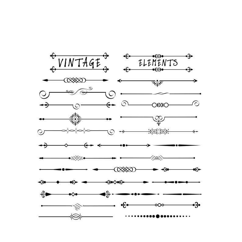 Text Divider Clip Art 63 Vintage Design Elements Chalk Board Etsy In 2020 Text Dividers Printable Frames Clip Art