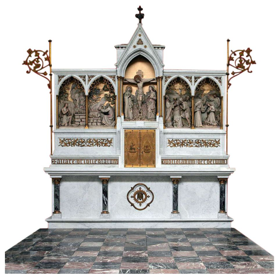 Communion Table or Altar in Marble, Neo-Gothic | From a unique collection of antique and modern architectural elements at https://www.1stdibs.com/furniture/building-garden/architectural-elements/