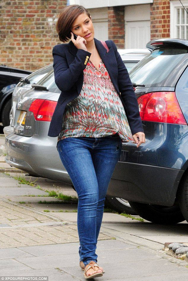 She's got that pregnancy glow: Frankie Sandford beams with delight as she shows off her baby bump in printed blouse | Mail Online