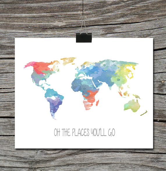 Instant download world map travel quote poster watercolor oh the instant download world map travel quote poster watercolor oh the places youll go boy or girl child nursery wall art home decor gumiabroncs Image collections