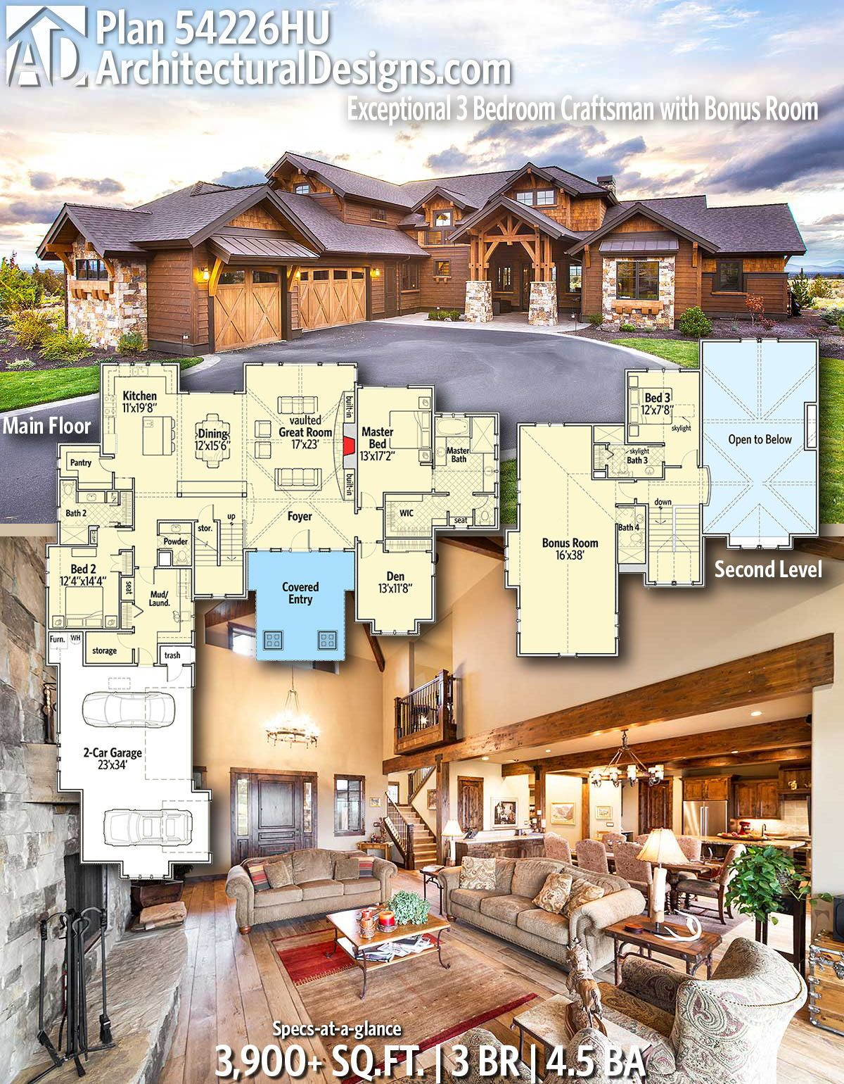 Plan 54226hu Exceptional 3 Bedroom Craftsman With Bonus Room In