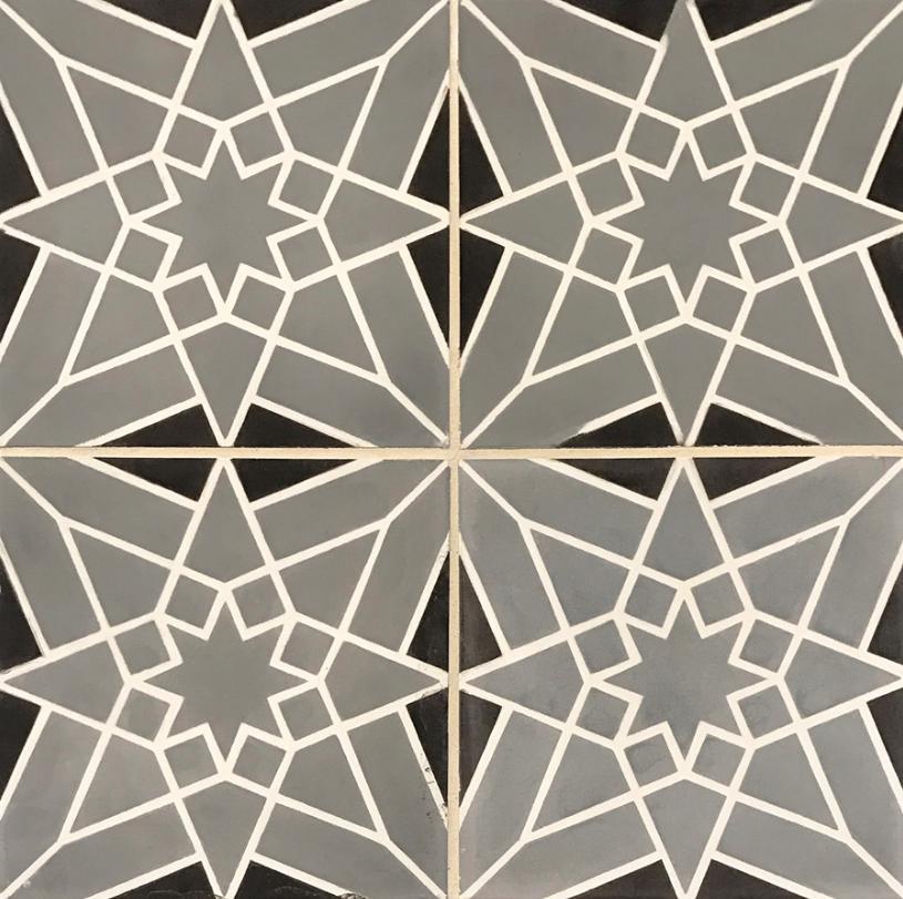 Strada Star Design Concrete Tiles In Black Grey And White - Ceramic tile star designs