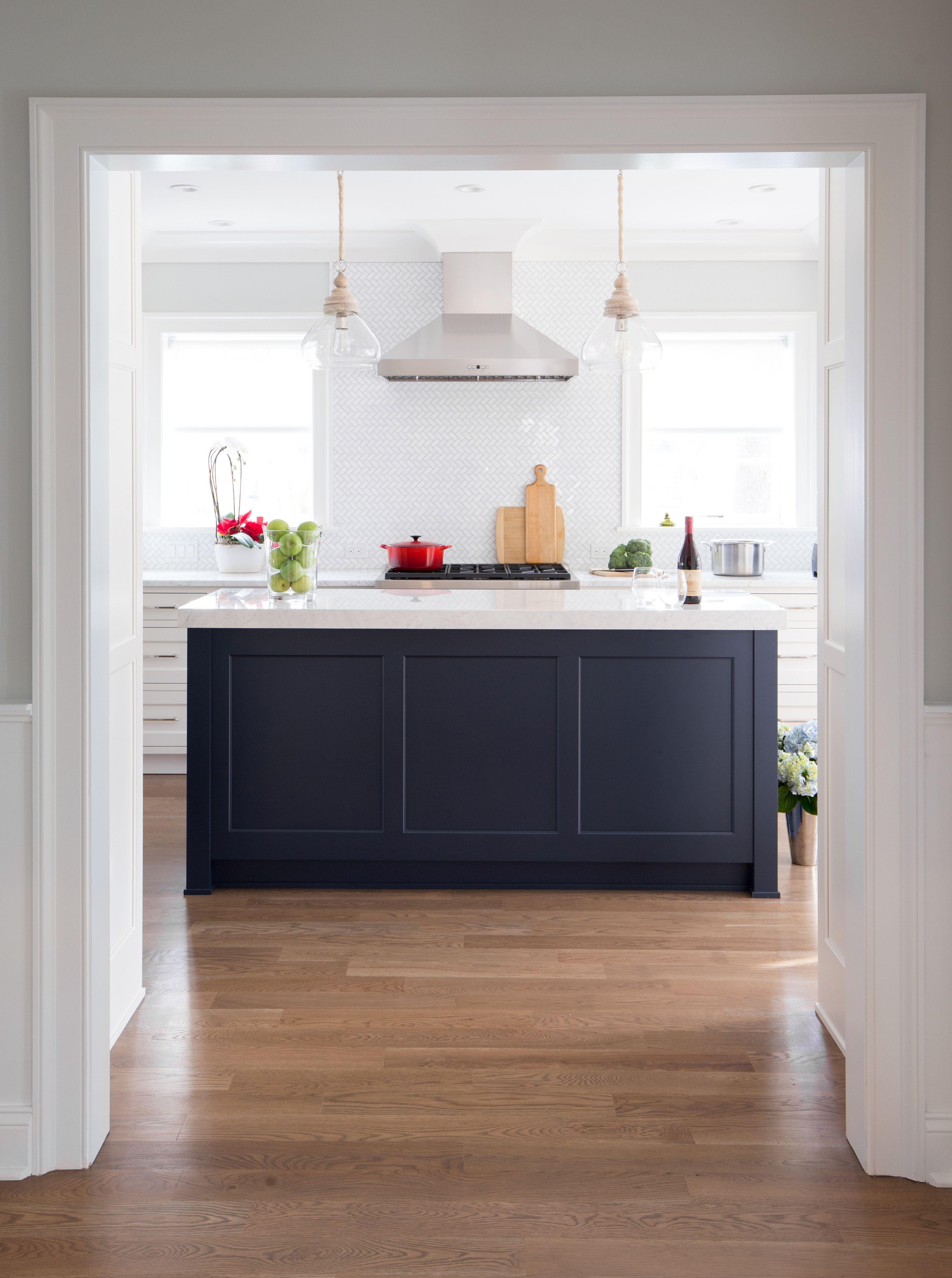 Classic White Navy Blue Kitchen Island Galley Kitchen Simple Bathroom Decor