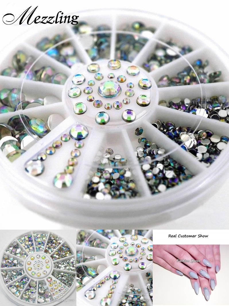 [Visit to Buy] Mix Sizes Crystal AB Glitter Rhinestone 3D Acrylic Nail Art Tips Decoration Wheel Set DIY Nail Accessories #Advertisement