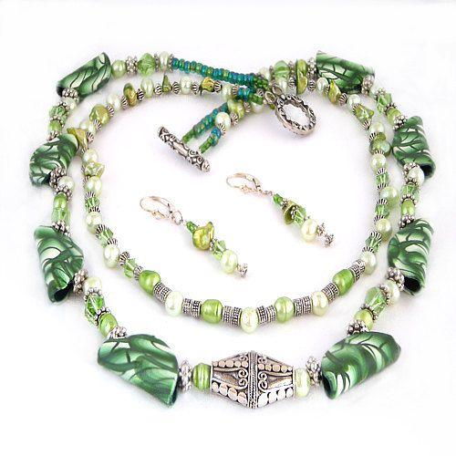 Green Polymer Clay, Pearls & Swarovski Crystal Necklace Set. $75.00, via Etsy.
