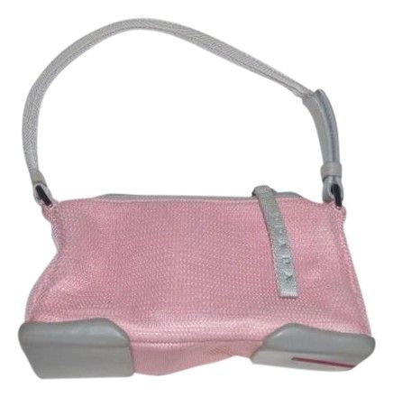 251be4eb6d Prada Chrome Hardware Excellent Vintage Rubber Bottom Perfect First Petite  But Roomy Satchel in grey leather   pale pink nylon