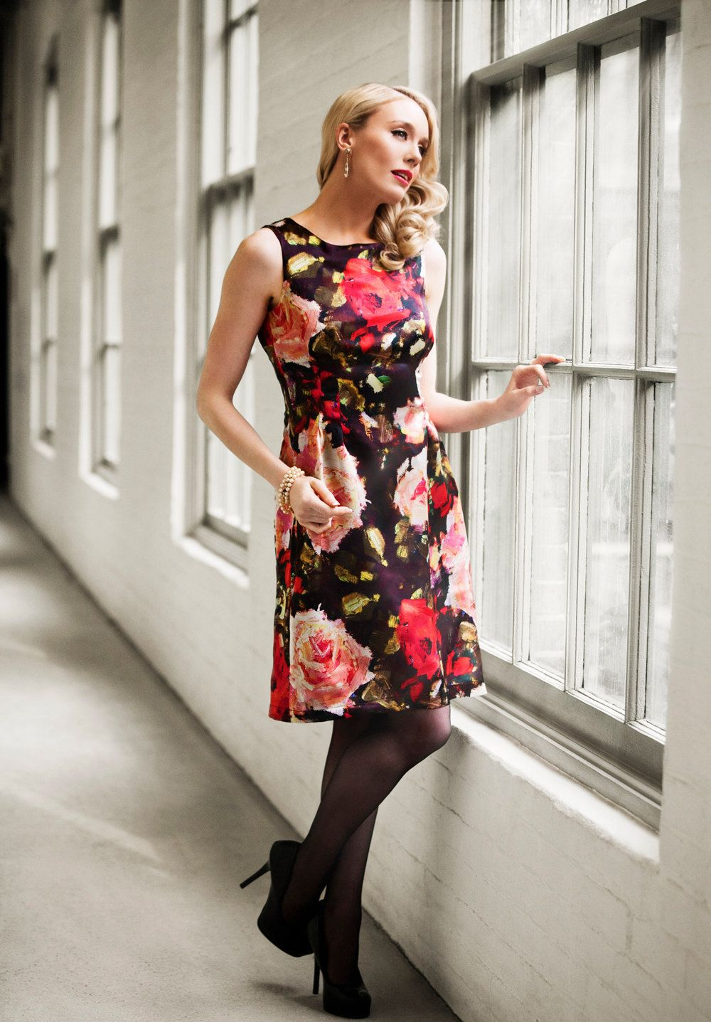Sale Silk Floral Print Cocktail Dress Mad by JessicaRoseFashion ...