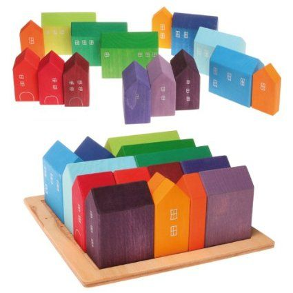 Amazon.com: Grimm's Wooden City & Town Waldorf Building Blocks Set, Small Houses: Toys & Games