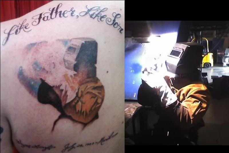 tattoos like father like son full color welding tattoo helmet tattoos pinterest welding. Black Bedroom Furniture Sets. Home Design Ideas