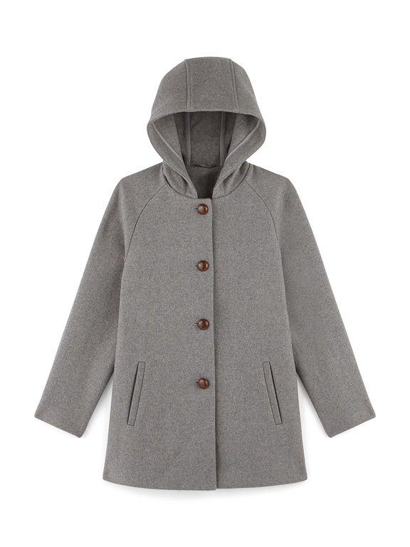 Manteau femme trapèze en drap de laine, IMHOFF - BEIGE CLAIR CHINE+GRIS  CLAIR df2b5eb3f26c