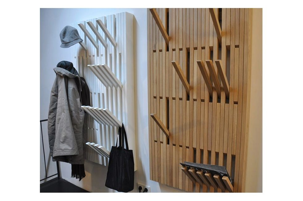 Here's a neat, low-profile design for a flat hanger system with multi-level hooks for hanging only what you need.