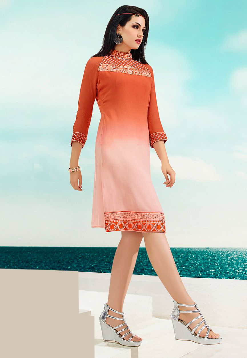 38608615b8 Buy Shaded Orange Faux Georgette Readymade Tunic online