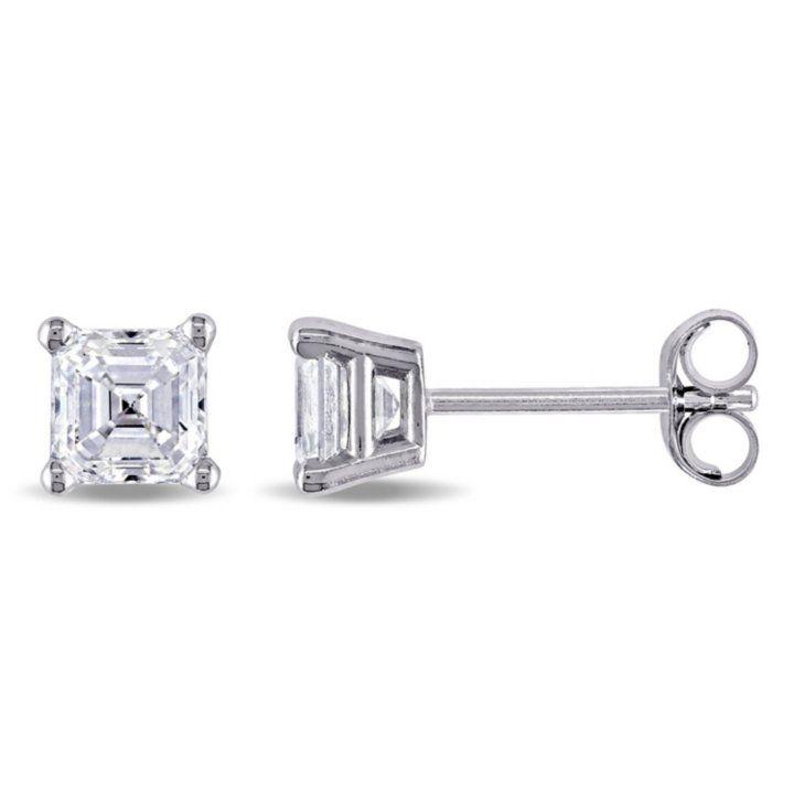 T W Cher Cut Diamond Solitaire Stud Earrings In 14k White Gold Sam S Club