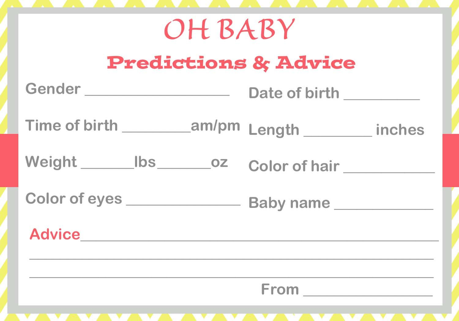Baby Shower Baby Prediction Cards Baby Prediction Cards Free Baby Shower Games Free Baby Shower