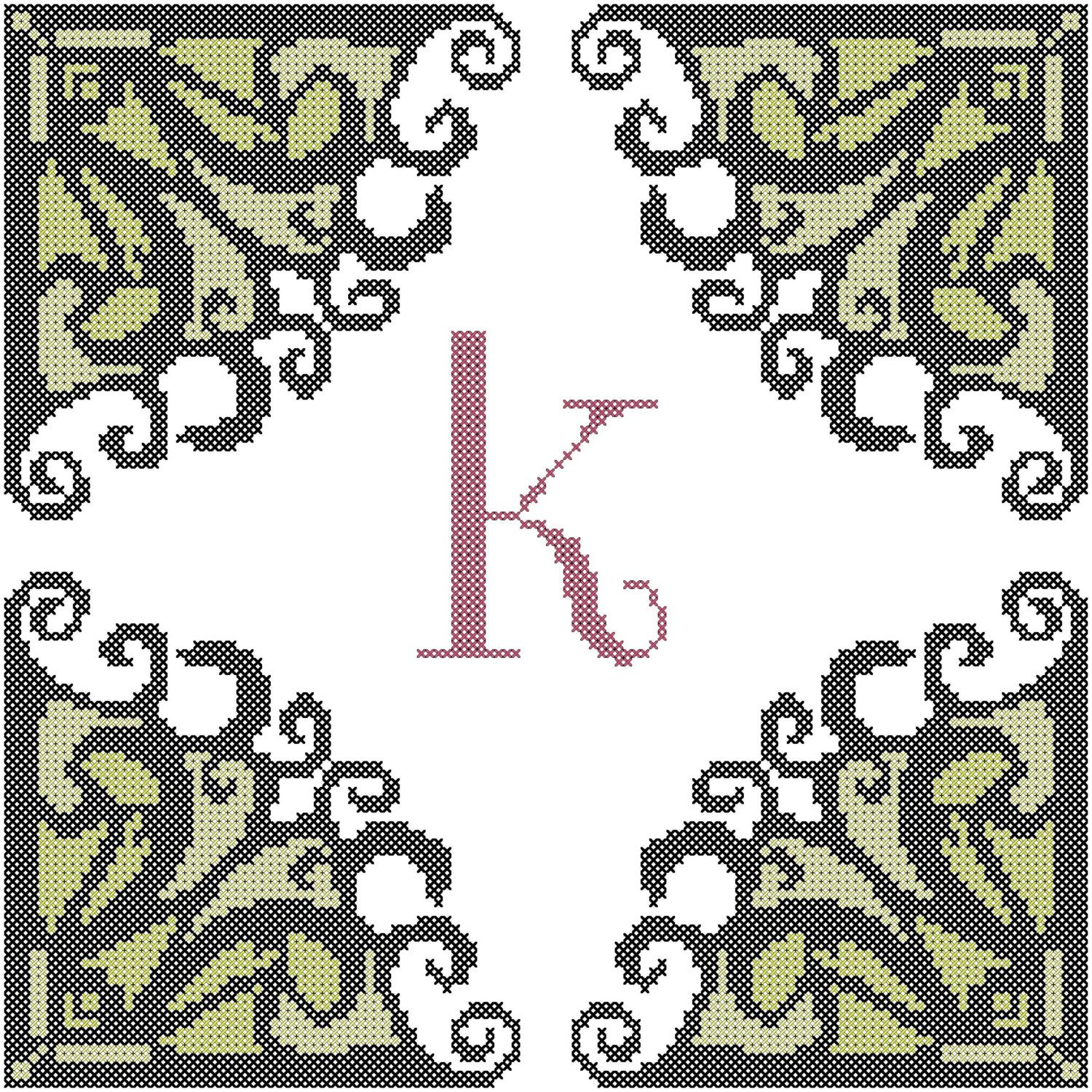 A personal favorite from my Etsy shop https://www.etsy.com/listing/216685313/modern-iniital-cross-stitch-pattern-with