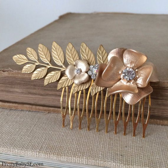 gold comb,rustic wedding,Gold bridal comb, gold hair comb, gold bridal headpiece, rose gold comb,flower,rose gold leaves branch