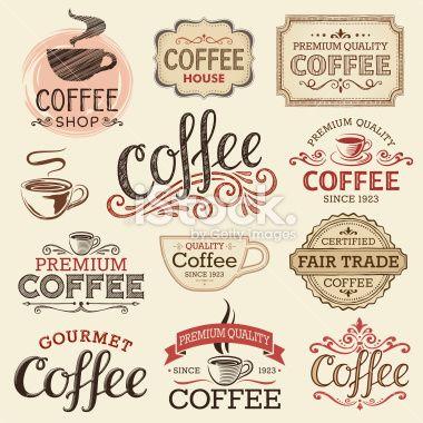 Set Of Hand Drawn Vintage Coffee Labels Hi Res Jpeg Included Scroll Coffee Label Vintage Coffee Vintage Labels