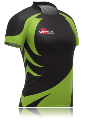 ae71cb14373 Ladies black/green jagged rugby jersey. A bespoke design by Samurai  Sportswear. www.samurai-sports.com